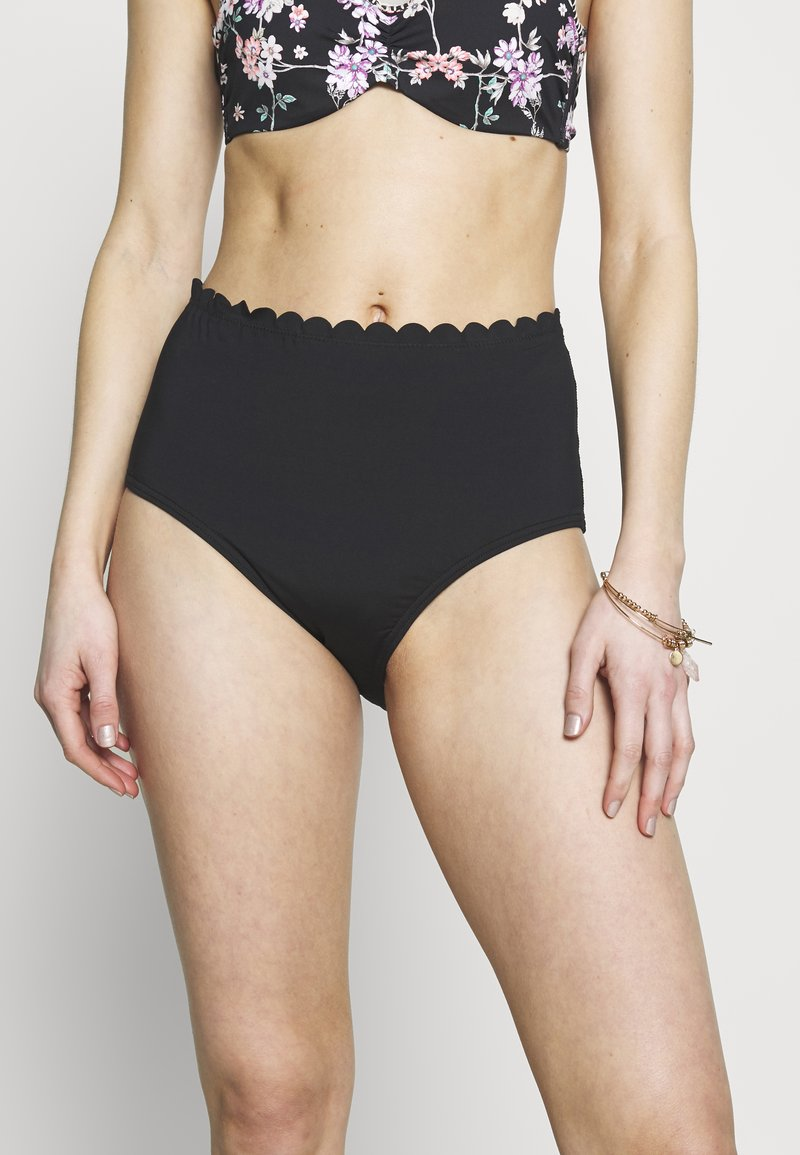 LASCANA - PANTS HIGHWAI SCALLOP - Bikiniunderdel - black