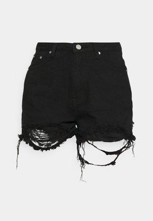 EXTREME FRAY RIOT - Denim shorts - black