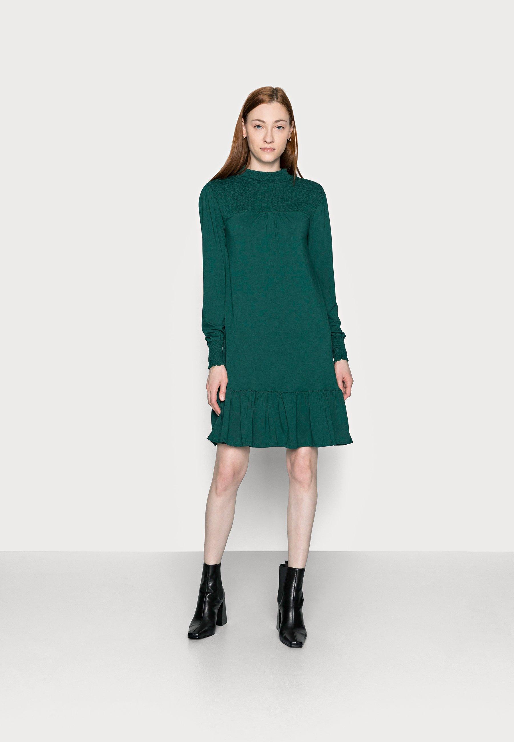 Women BLACKSHIRRED DRESS - Jersey dress