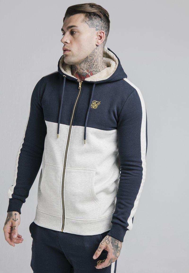 SIKSILK - CUT AND SEW BORG ZIPTHROUGH HOODIE - Zip-up hoodie - navy/snow