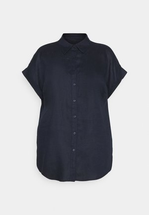 BROONO SHORT SLEEVE - Button-down blouse - navy