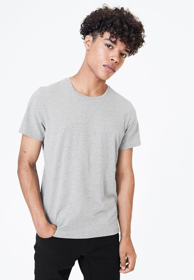 MIT NECKTAPE - Basic T-shirt - grey melange