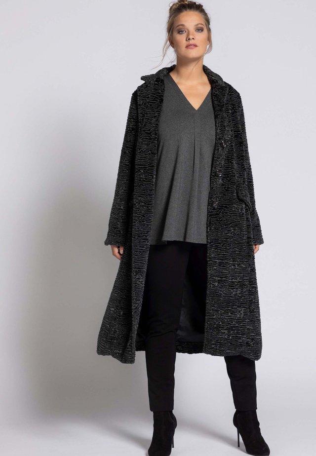 Classic coat - dunkelgrau-melange
