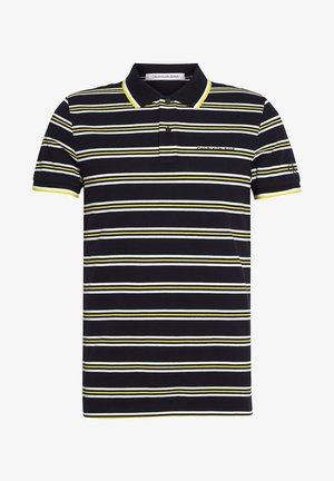 SLIM STRIPED - Poloshirt - ck black/white/solar yellow