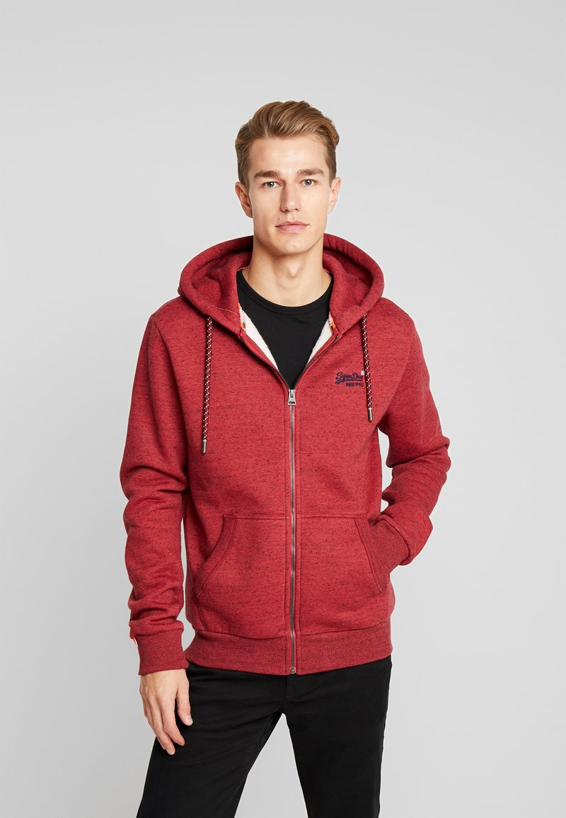 Superdry - ZIP HOOD - Sweater met rits - desert red grit