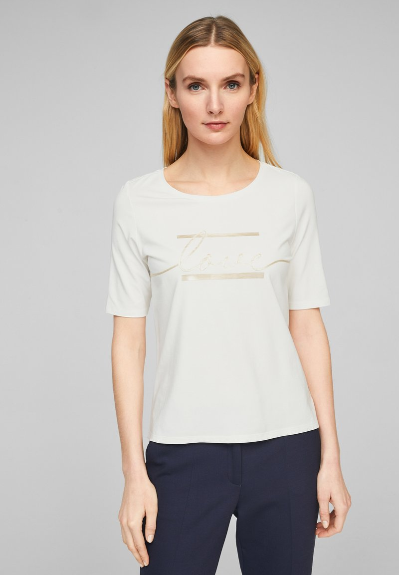 s.Oliver BLACK LABEL - MIT STATEMENT-PRINT - Print T-shirt - soft white love print