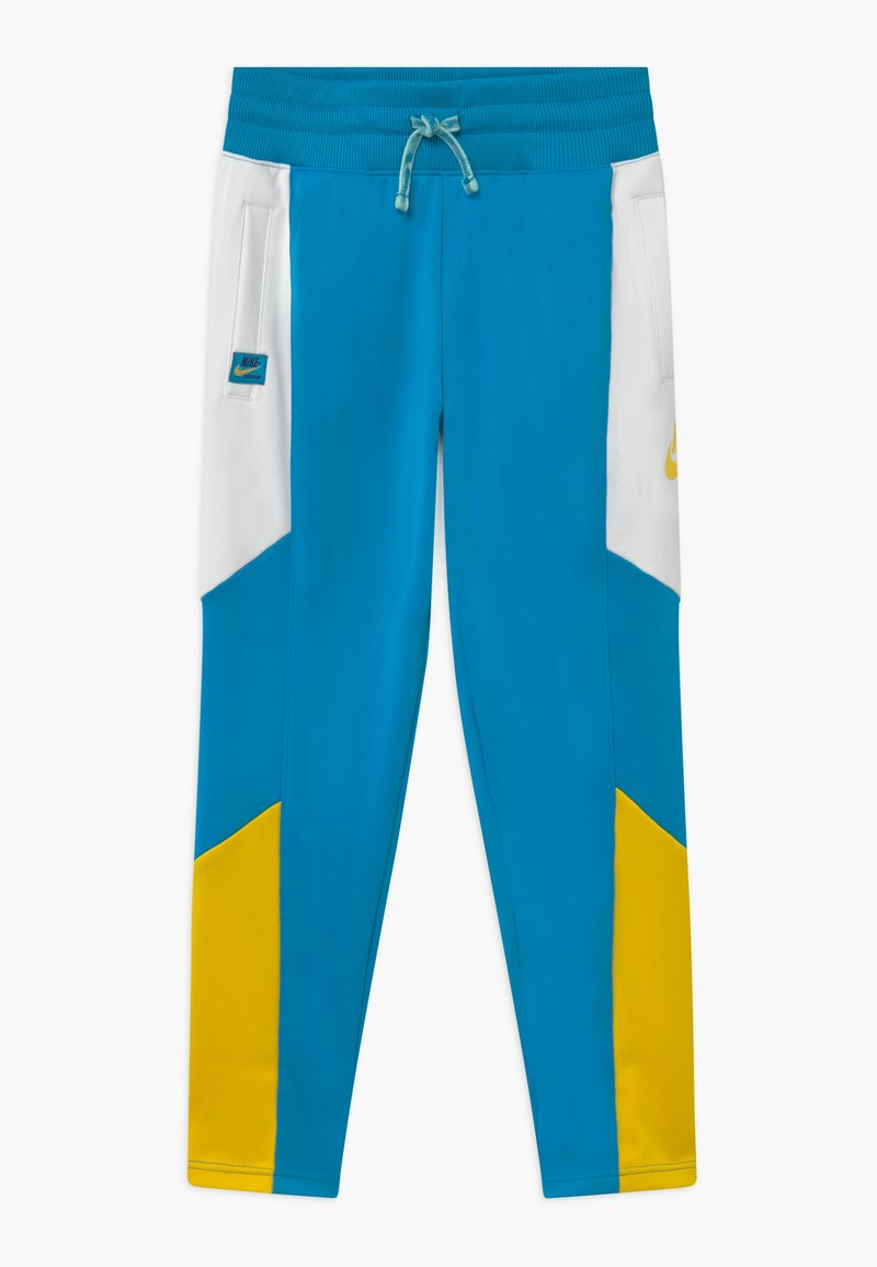 Nike Sportswear - HERITAGE - Tracksuit bottoms - laser blue/white/speed yellow