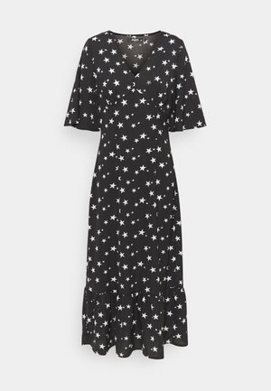 RUCHED BUST V NECK MIDI DRESS STAR - Kjole - black