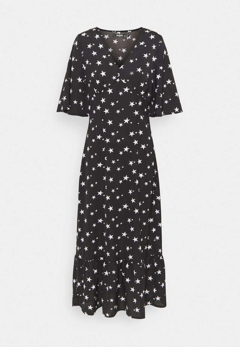 Missguided Tall - RUCHED BUST V NECK MIDI DRESS STAR - Day dress - black