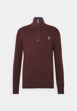 MENS ZIP NECK ZEBRA - Jumper - dark red