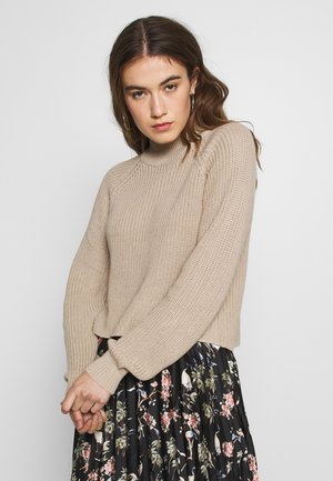 CROPPED PERKIN NECK - Jumper - dark tan melange