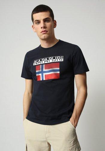 S-SURF FLAG - Print T-shirt - blu marine