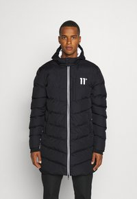 11 DEGREES - LONG LINE CHEVRON PUFFER - Winter coat - black - 0