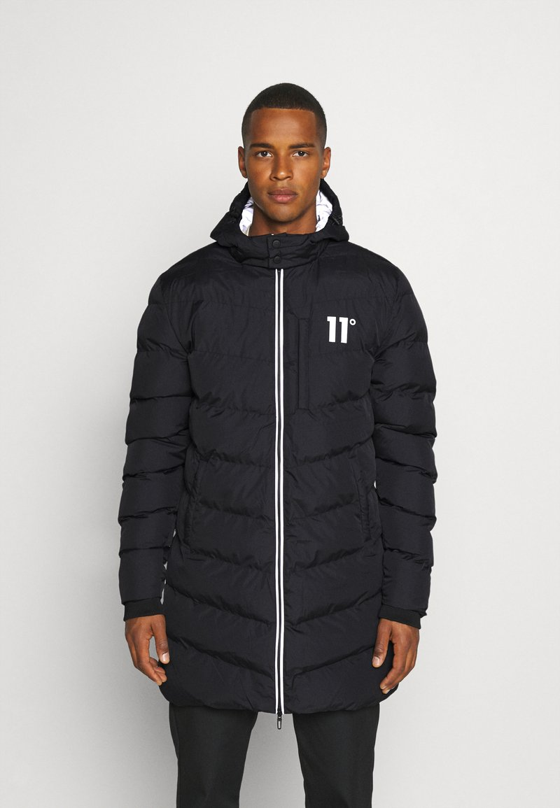 11 DEGREES - LONG LINE CHEVRON PUFFER - Winter coat - black