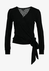 Dorothy Perkins - WRAP OVER LONG SLEEVE - T-shirt à manches longues - black - 3