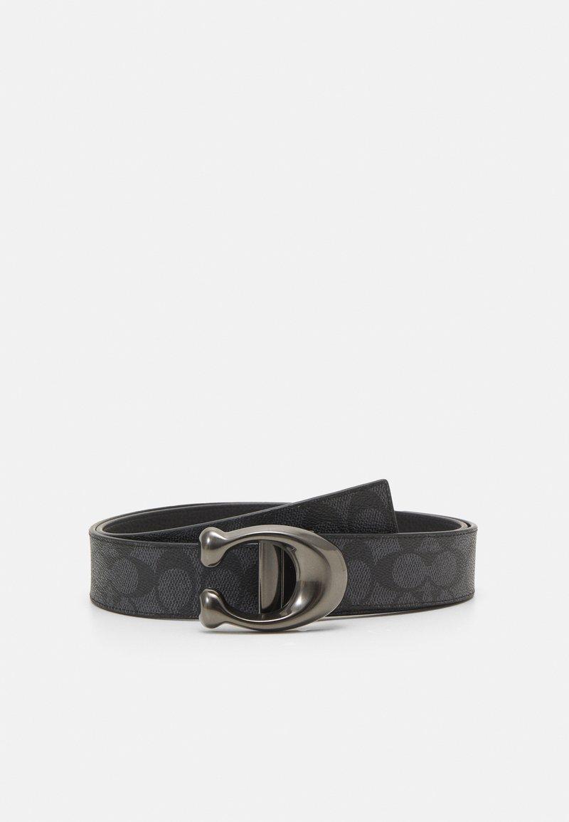 Coach - SCULPTED REVERSIBLE SIGNATURE BELT - Belt - charcoal/black