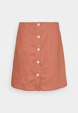 LINEN SKIRT WITH BUTTONS - Minifalda - tuscany