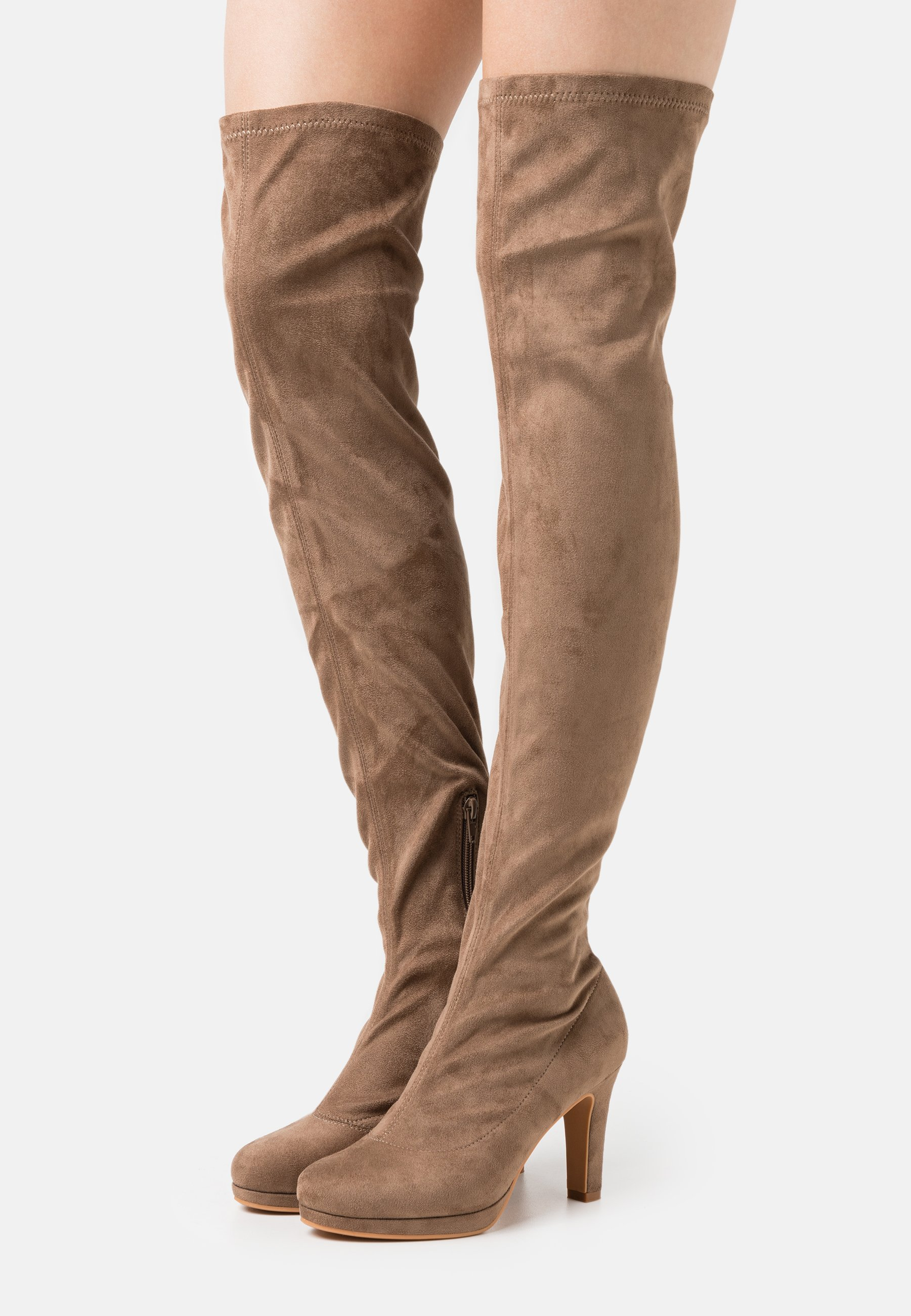 Women High heeled boots - taupe