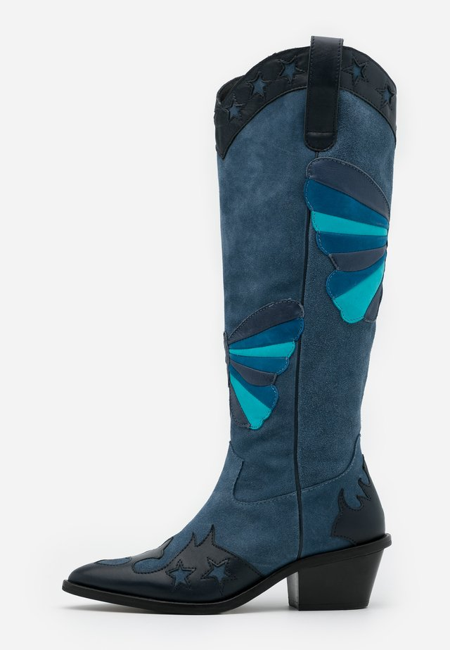 HOLLY KNEE HIGH BUTTERFLY - Cowboy/Biker boots - dusty blue
