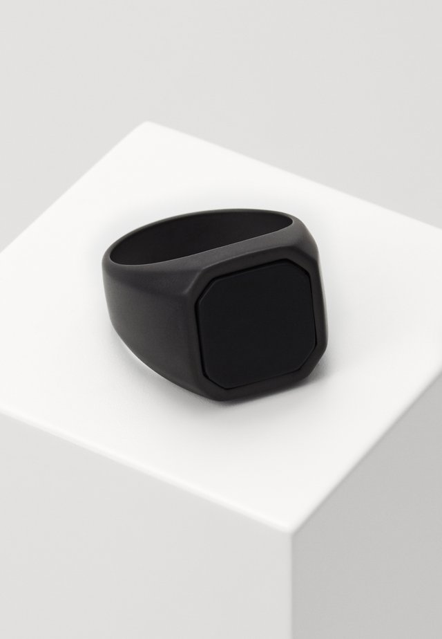 CERAMIC SIGNET RING - Ring - black ceramic