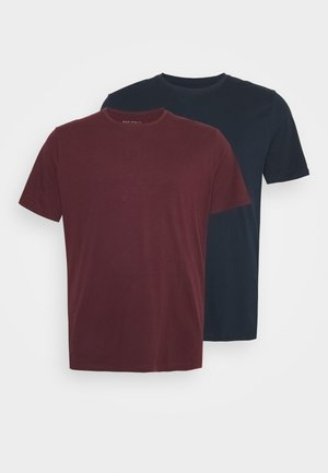 2 PACK  - Basic T-shirt - bordeaux/blue