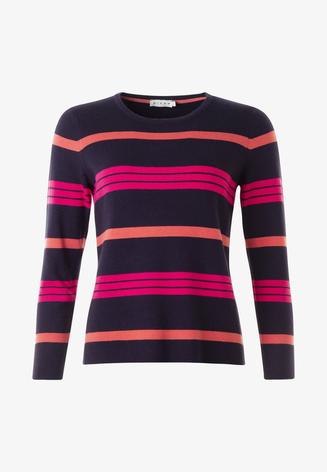 MONA  - Stickad tröja - navy/coral/pink