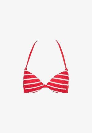 NATALIE - Bikini top - streifen - 183c - hawaiian red  riga bianca