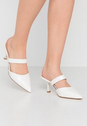 HOSS X NAKD POINTED TOE SLIP INS - Heeled mules - white