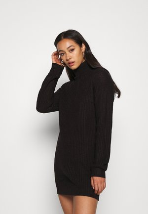 ROLL NECK BASIC DRESS - Gebreide jurk - black
