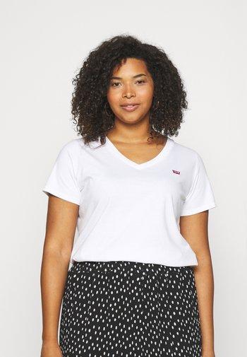 V NECK TEE - Basic T-shirt - bright white