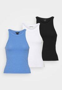 black dark & white & light blue