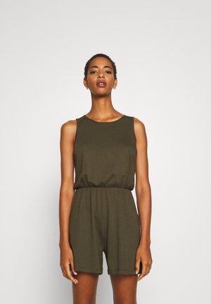 BASIC - SLEEVELESS KEY-HOLE BACK PLAYSUIT - Jumpsuit - khaki