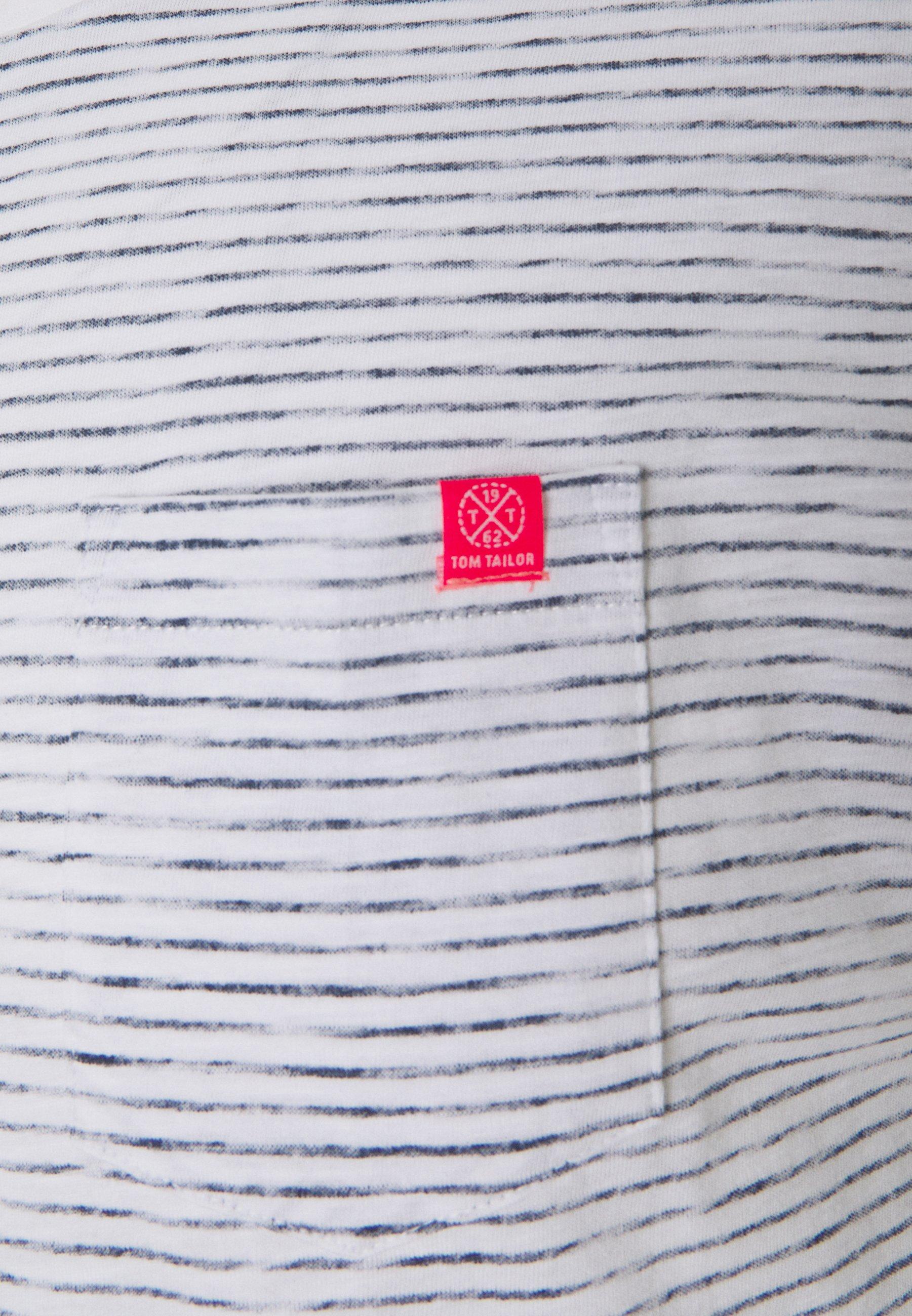 TOM TAILOR STRIPE TEE - Print T-shirt - white jQRUR