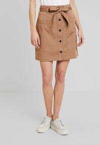 TOM TAILOR DENIM - UTILITY SKIRT - Áčková sukně - warm beige/brown - 0