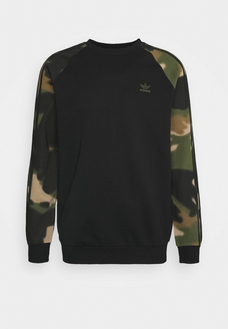 adidas Originals - CAMO CREW - Sweatshirt - black/wild pine/multicolor