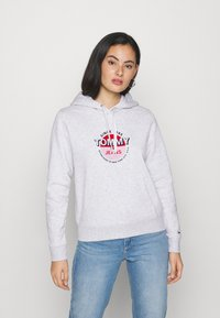 Tommy Jeans - ESSENTIAL LOGO HOODIE - Sweat à capuche - silver grey - 0