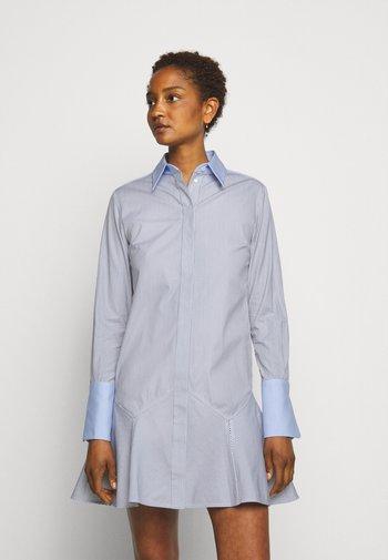 PATCHWORK FLOUNCE HEM SHIRT DRESS