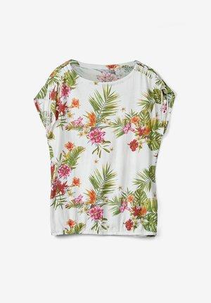 O-SHAPE MIT RAFFUNG - Blouse - cream floral print