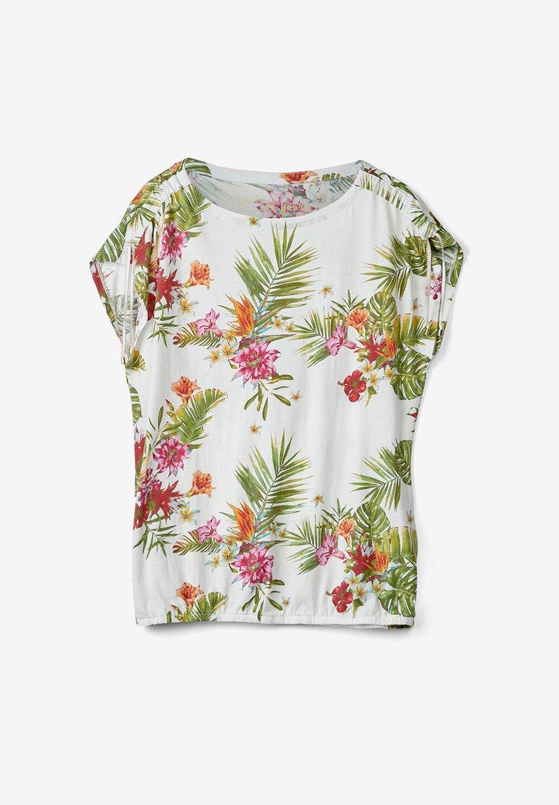 s.Oliver - O-SHAPE MIT RAFFUNG - Blouse - cream floral print