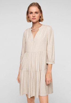 Korte jurk - beige dots