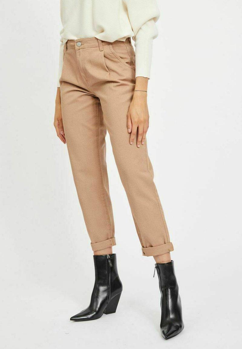 Vila - HOHER BUND - Straight leg jeans - tigers eye