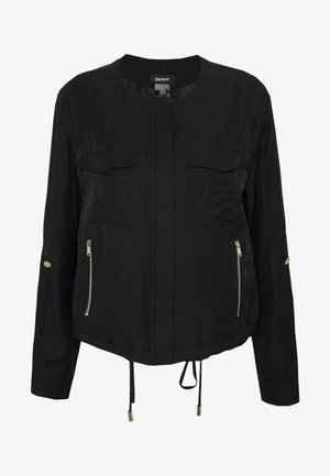 FOUNDATION ROLL TAB ZIP FRONT - Summer jacket - black