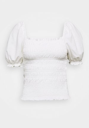 RUCHED BODY PUFF SLEEVE - T-shirts med print - white