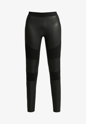 LADIES FAKE TECH - Leggings - Trousers - black