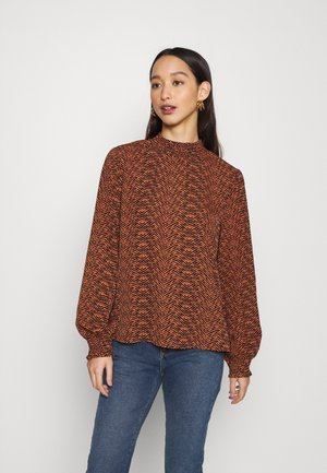 ONLLIMA SMOCK - Blouse - black/orange