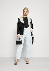 NA-KD - SHINY AVIATOR JACKET - Winter jacket - black/white - 1