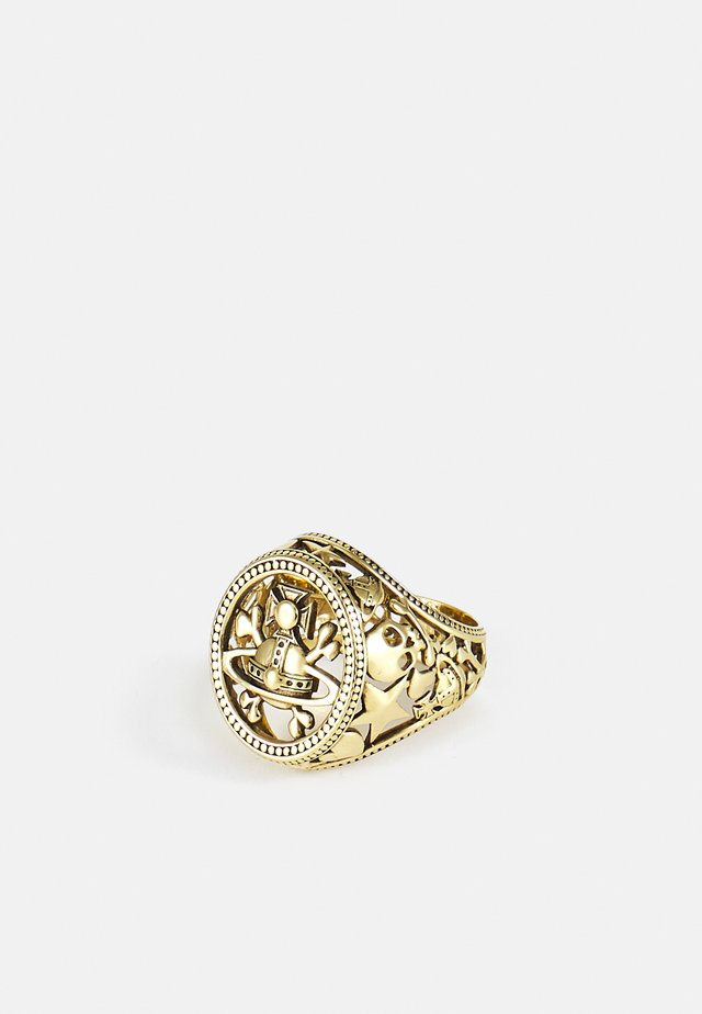 AARON SEAL RING UNISEX - Prsten - antique gold-coloured