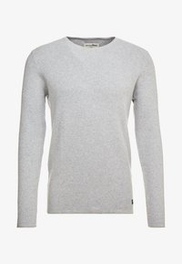 TOM TAILOR DENIM - ZIGZAG STRUCTURED CREWNECK - Jumper - lava stone grey melange