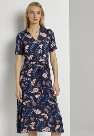 Skjortekjole - navy floral design