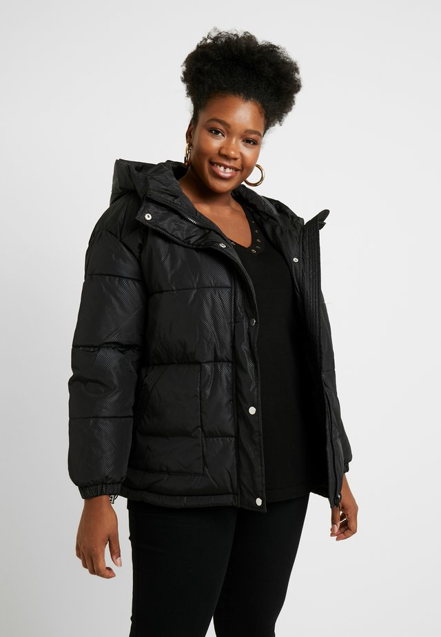 LADIES OVERSIZED HOODED PUFFER - Giacca invernale - black